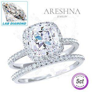 2Pcs 5ct Lab Diamond Cushion Cut Engagement Ring